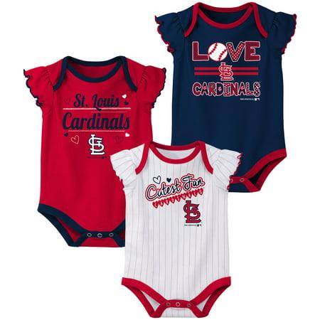Girls Newborn & Infant Red/Navy/White St. Louis Cardinals 3-Pack Bodysuit
