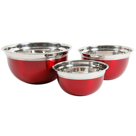 Oster Mixing Bowl (Oster Rosamond 3-Piece Round Mixing Bowl in Metallic Red )