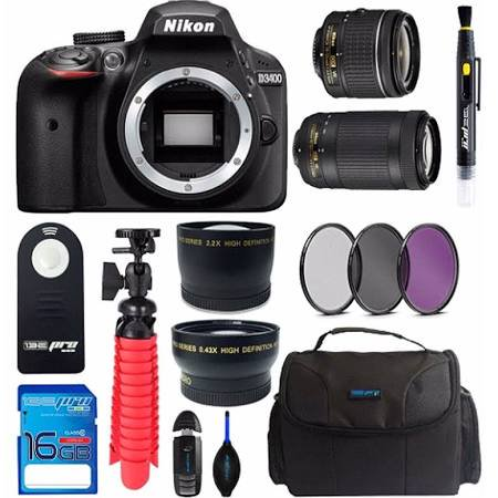 Nikon D3400 DSLR Camera with 18-55mm Lens + Nikon AF-P DX NIKKOR 70-300mm f/4.5-6.3G ED VR Lens + Bundle