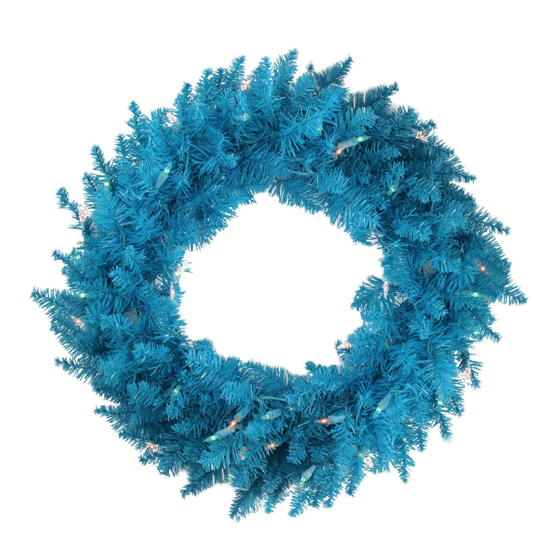 "Vickerman 24"" Prelit Ashley Spruce Christmas Wreath - Clear/Blue Lights"