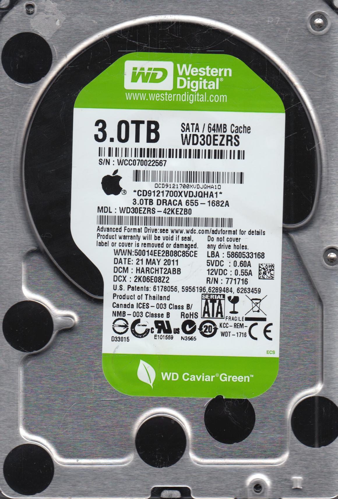 WD30EZRS-42KEZB0, DCM HARCHT2ABB, Western Digital 3TB SATA 3.5 Hard Drive by WD