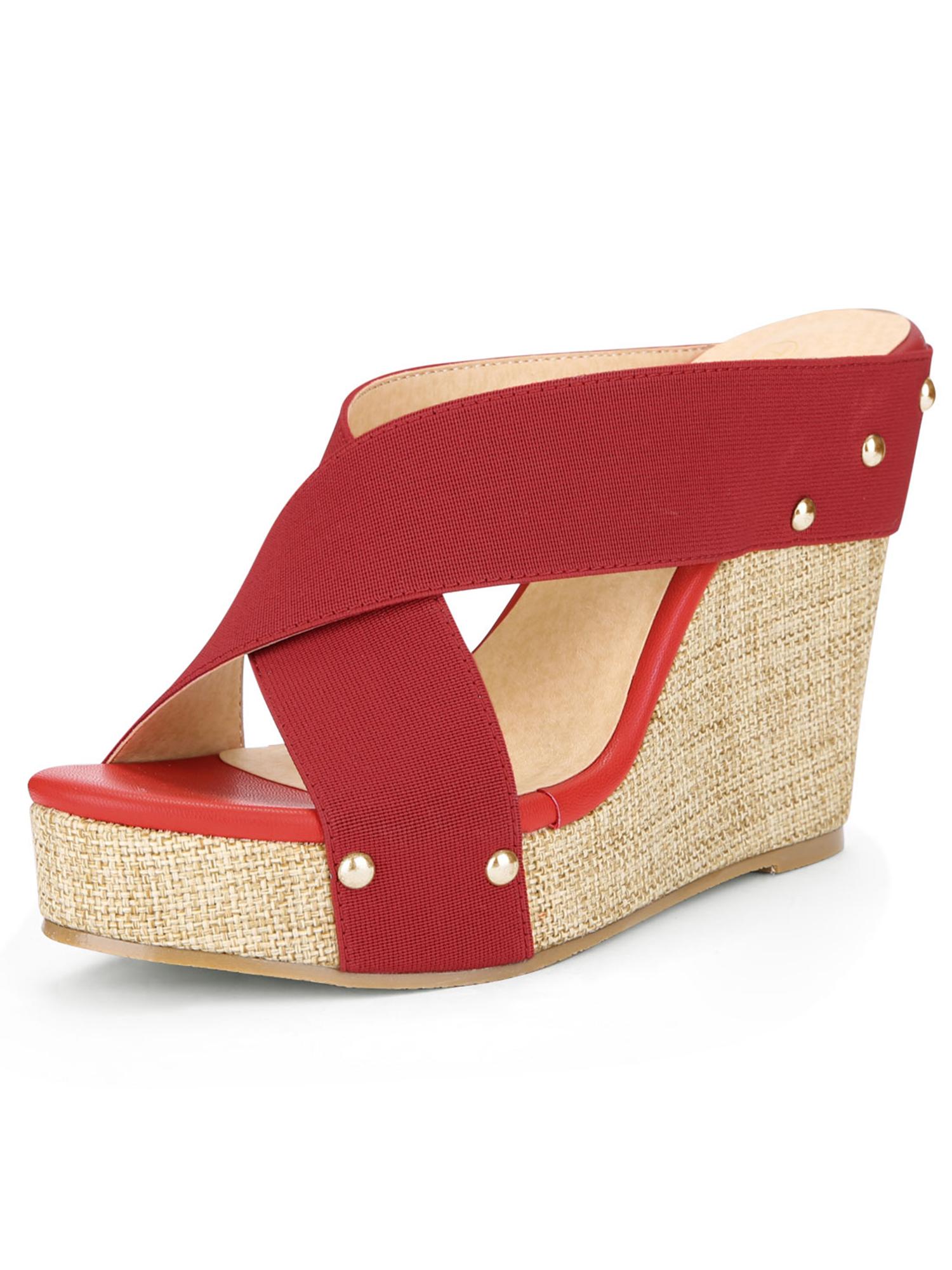 6129ed60540b Unique Bargains Women s Linen Platform Open Toe Slide Wedge Sandals Red  (Size 5)
