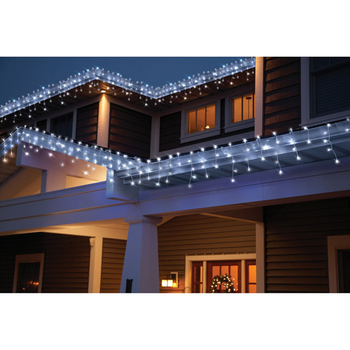 Holiday Time 70-Count LED Star Icicle Christmas Lights, Cool White.
