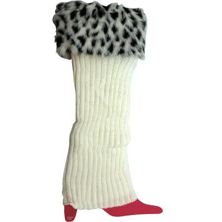 Knitted Scandinavian Style Leg Warmer With Cheetah Spot Faux Fur Cuff - White Fur Leg Warmers