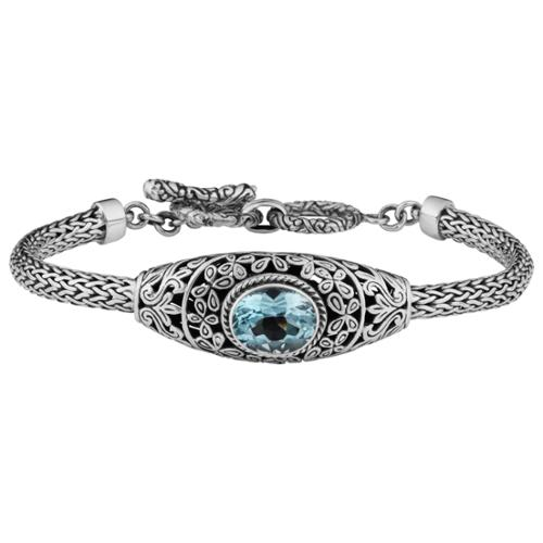 Cawi Handmade Sterling Silver '' Blue Topaz Toggle Bracelet (Indonesia) by Overstock