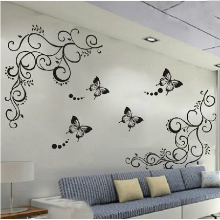 Amaonm® Hot Fashion Removable Vinyl Diy Black Nursery Flowers Vine and Beautiful Butterfly Wall Corner Decals Wall Sticker Murals Home Art Decor for Girls Kids Bedroom Living Room Home Decorations