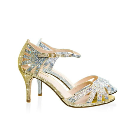 Reason by City Classified, Mid Heel Rhinestone Glitter Gladiator Wedding Party Sandal w Ankle - Party City Littleton