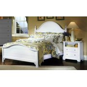 Panel Bed w Nightstand in Snow White Finish (Full)