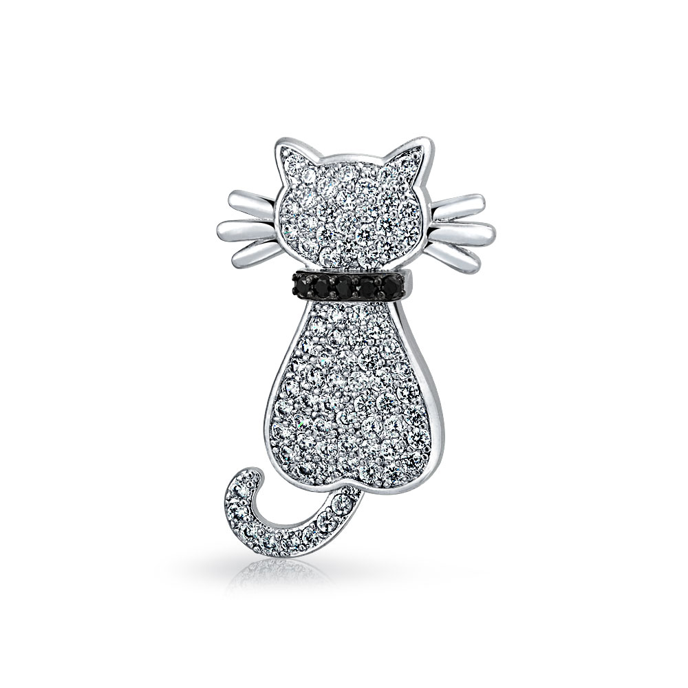 Bling Jewelry White Pave Cubic Zirconia Cat Animal Brooch Pin Rhodium Plated by Bling Jewelry