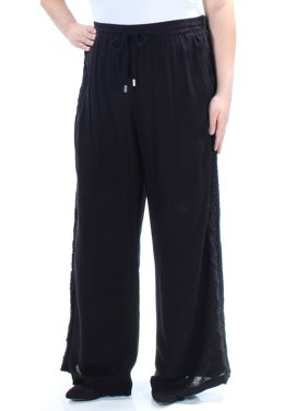 287a7c32515 Product Image INC Womens Black Embroidered Tie Wide Leg Pants Size  18