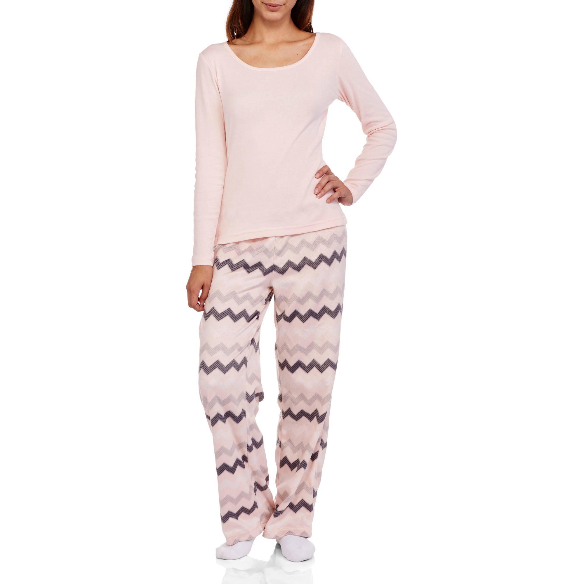 Juniors\' Pajama Knit Union Suit One Piece Sleepwear with Hood ...