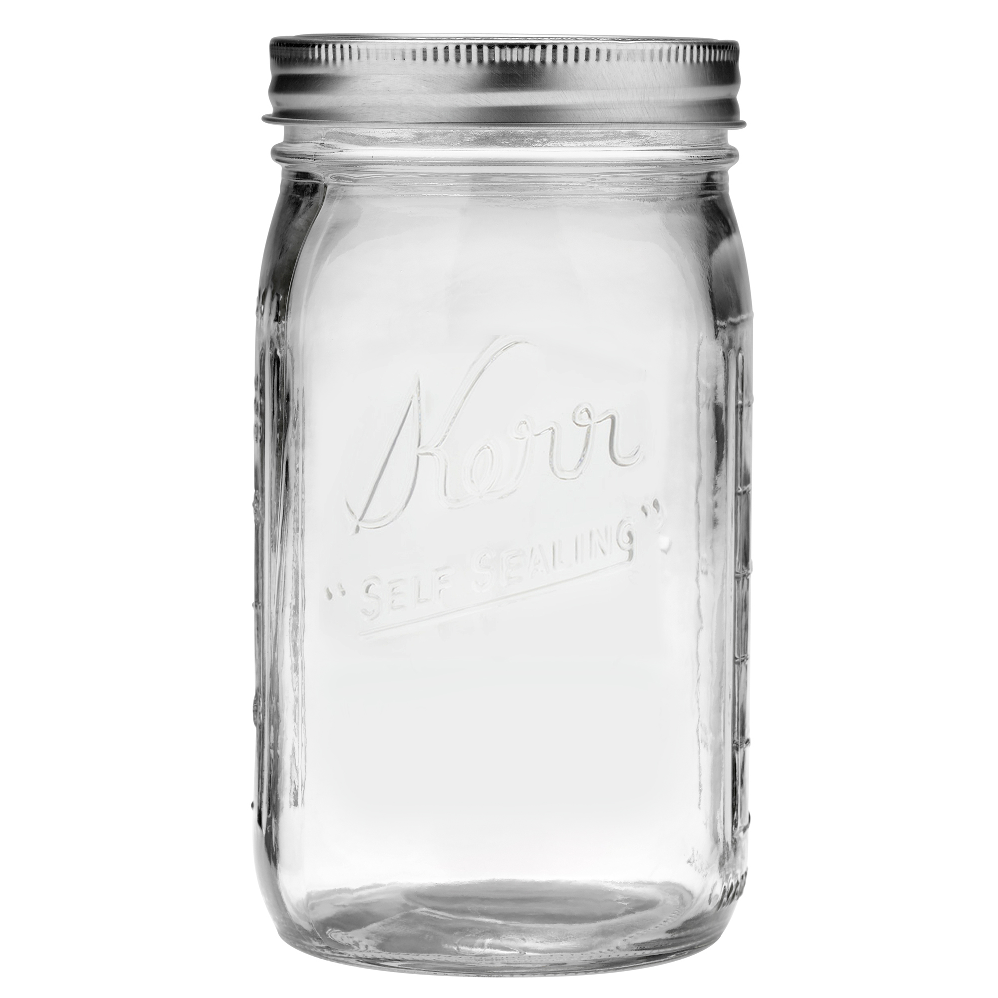 Kerr Glass Mason Jar with Lid and Band, Wide Mouth, 32 Ounces, 12 Count