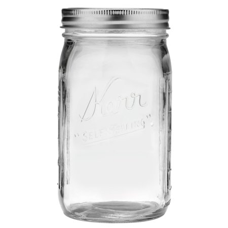 Kerr Glass Mason Jar w/Lid & Band, Wide Mouth, 32 Ounces, 12 Count - Gold Mason Jars