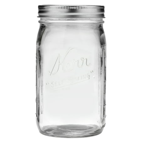 Barcelona Jar - Kerr Wide Mouth Quart 32 Oz. Glass Mason Jars with Lids and Bands, 12 Count