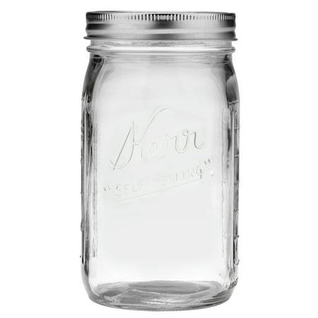 Kerr Glass Mason Jar w/Lid & Band, Wide Mouth, 32 Ounces, 12 Count ()