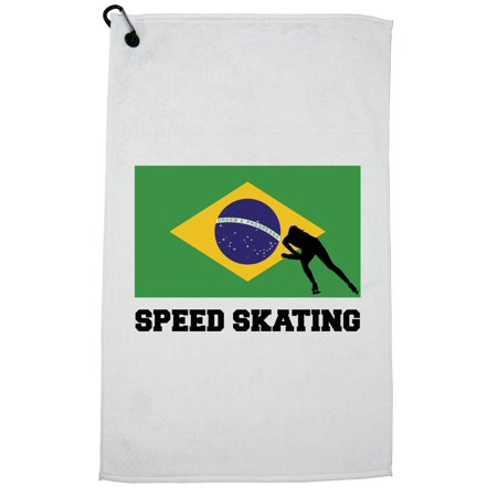 Brazil Olympic - Speed Skating - Flag - Silhouette Golf Towel with Carabiner Clip Olympic Speed Skating