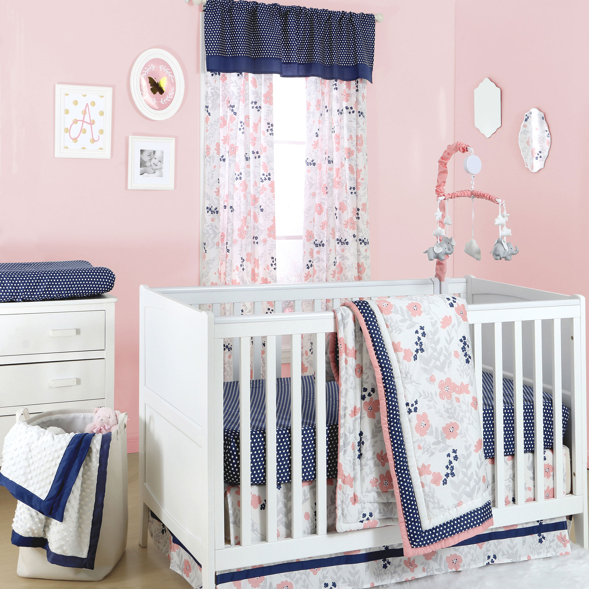 The Peanut Shell 4 Piece Baby Girl Crib Bedding Set - Navy Blue Dot with Coral Pink and Grey Floral - 100% Cotton Quilt, Dust Ruffle, Fitted Sheet, and Mobile