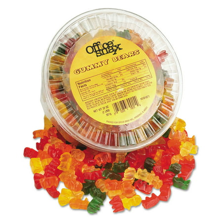 Office Snax Gummy Bears, Assorted Flavors, 2 lb Tub (Gummy Bugs)