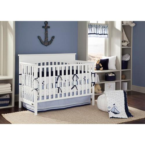 Bacati Little Sailor Blue/Navy Boys 10-Piece Boys Nursery-in-a-Bag Crib Bedding Set with Bumper Pad for US standard Cribs