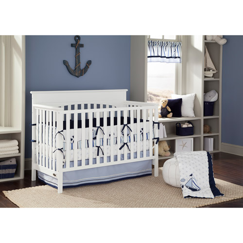 Bacati Little Sailor Blue/Navy Boys 10-Piece Boys Nursery-in-a-Bag Crib Bedding Set with Bumper Pad for US standard Cribs
