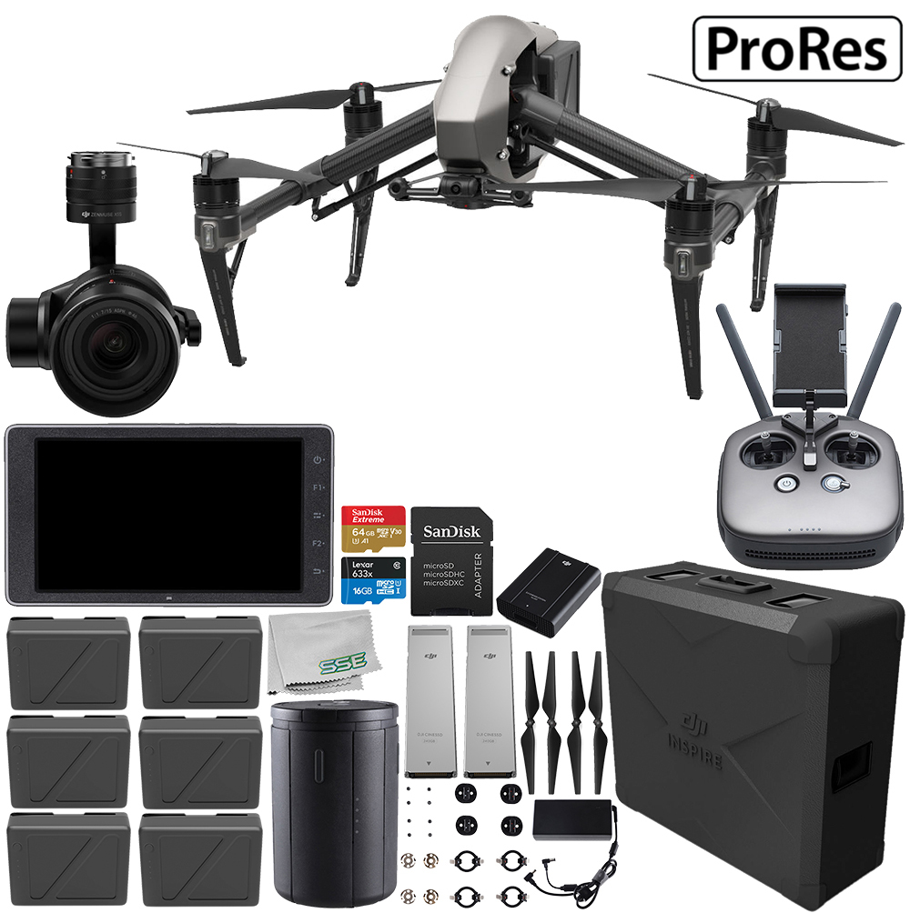 "DJI Inspire 2 Quadcopter with Apple ProRes License with Zenmuse X5S and CrystalSky 5.5"" High-Brightness Monitor and 2x CINESSD (240GB) Bundle"
