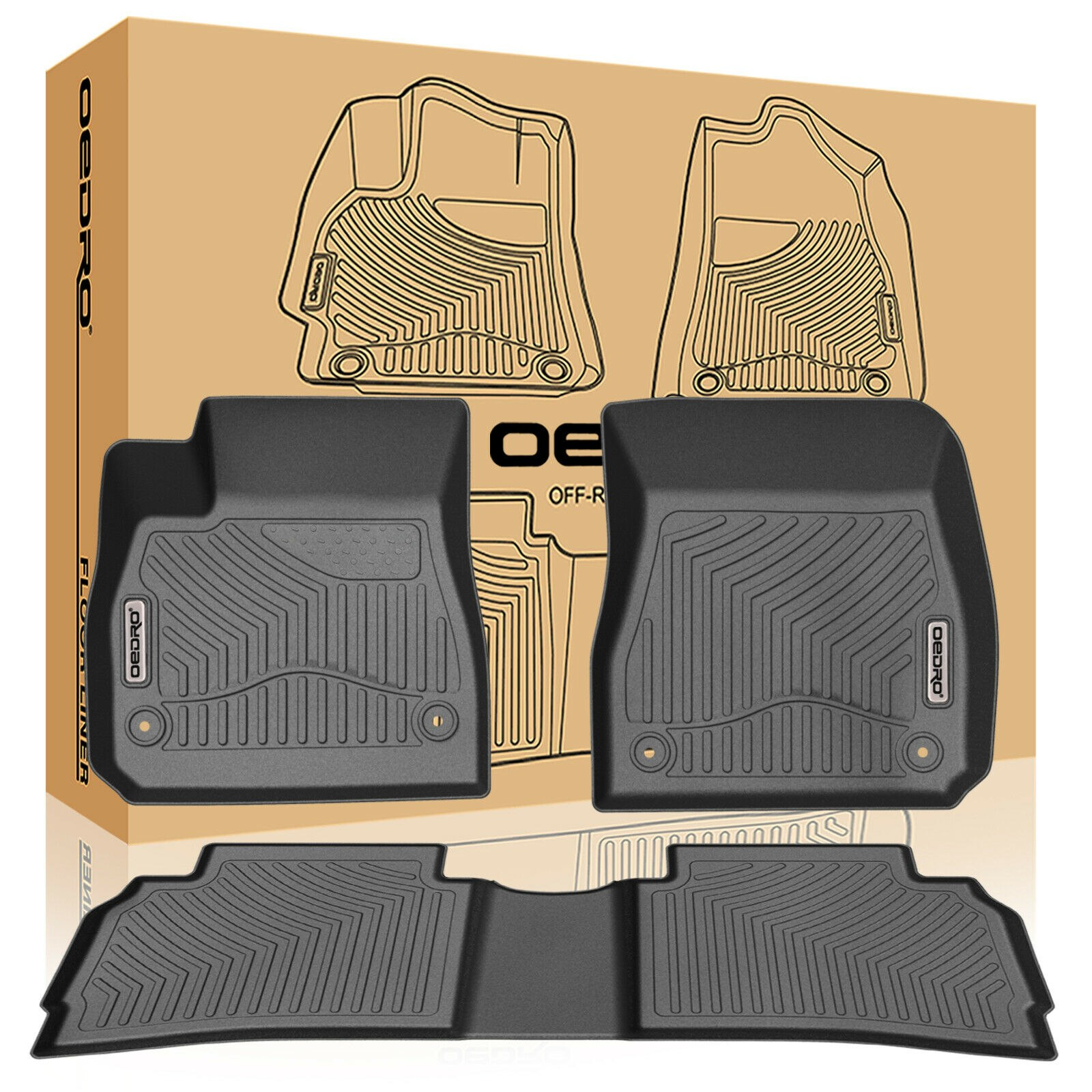 oEdRo Heavy Duty Rubber Floor Mats Black for 2016-2019 Chevrolet Malibu Full Set Liners All-Weather;includes 1st & 2nd Front Row and Rear Floor Liner Full Set