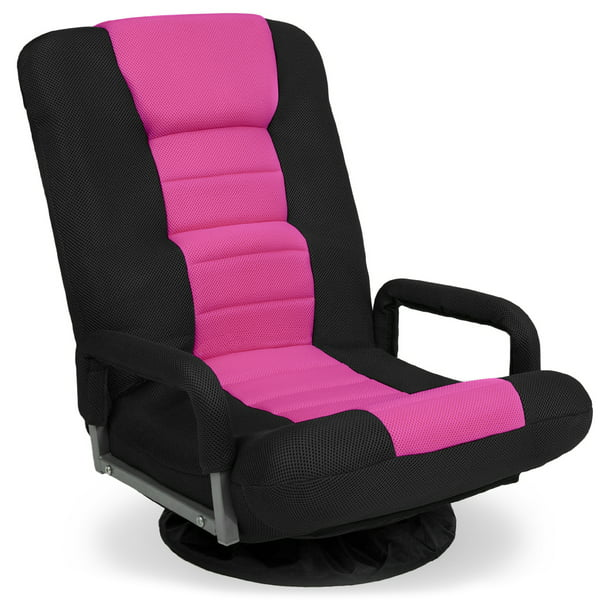 Best Choice Products 360-Degree Swivel Gaming Floor Chair w/ Armrest Handles, Foldable Adjustable Backrest - Pink