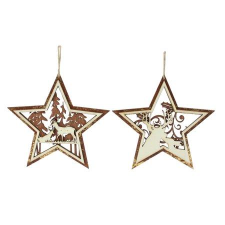 "- Roman 2ct Rustic Woodland Deer Star Christmas Ornament Set 5.25"" - Brown"