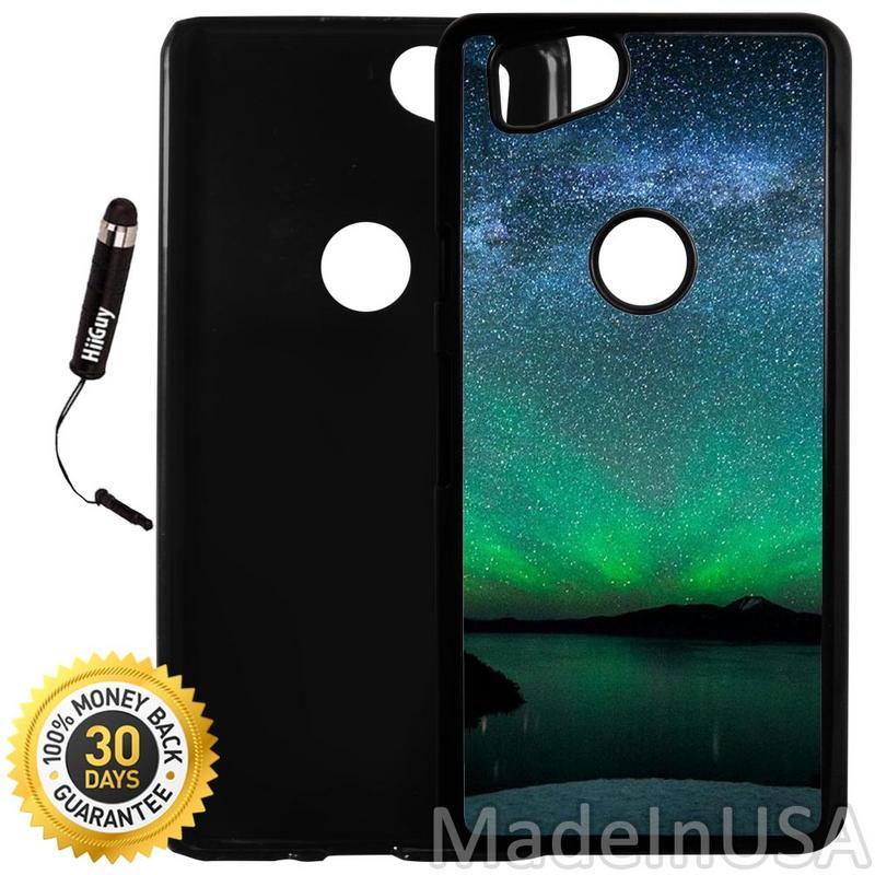 Custom Google Pixel 2 Case (Charm Green Starry Night) Plastic Black Cover Ultra Slim | Lightweight | Includes Stylus Pen by Innosub