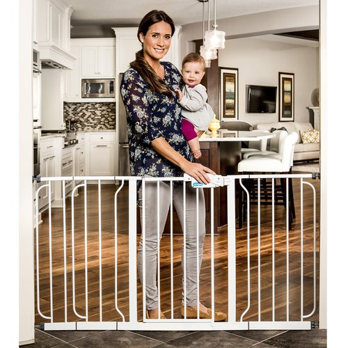 Regalo 58-Inch Extra WideSpan Walk Through Baby Gate, Bonus Kit, Includes 6-Inch, 8-Inch and 12-Inch Extension and 4 Pack of Wall Mounts