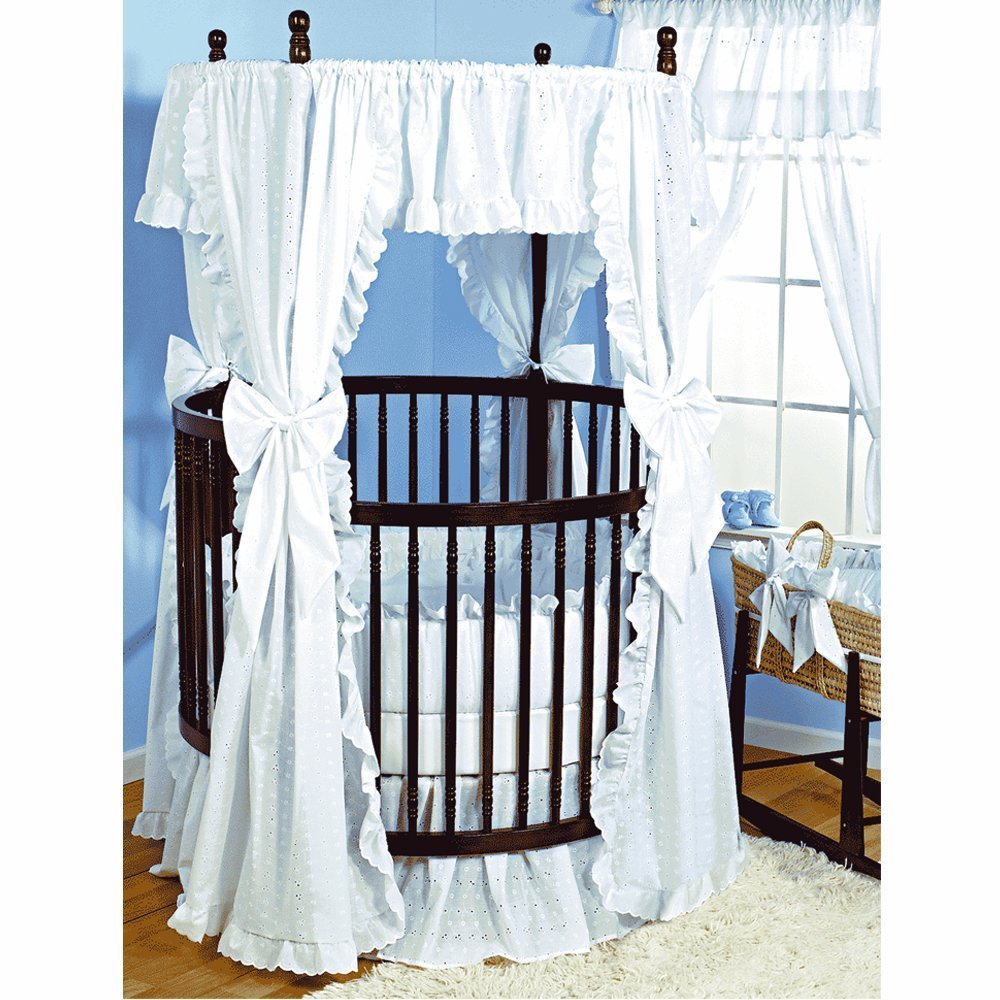 ababy eyelet bedding for round baby crib, white eyelet
