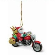 Santa and Reindeer Riding a Harley Motorcycle Christmas Ornament