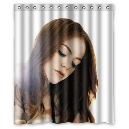 Deyou Emma Stone Nylon Girl Film Sexy Art Shower Curtain Polyester Fabric Bathroom Shower Curtain Size 60X72 Inches