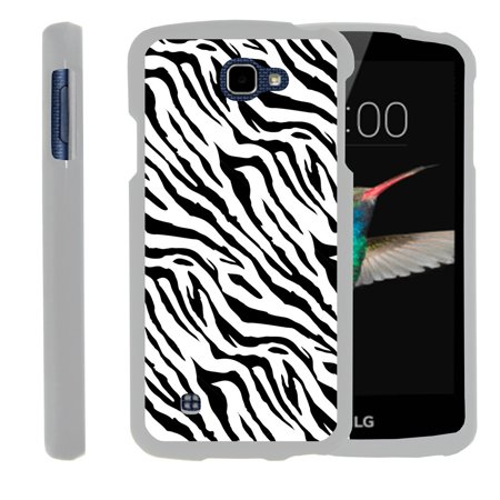 LG K4, LG Rebel, LG Spree, LG Optimus Zone 3, [SNAP SHELL][White] 2 Piece Snap On Rubberized Hard White Plastic Cell Phone Case with Exclusive Art - Zebra Pattern - Pattern Hard Plastic Mobile