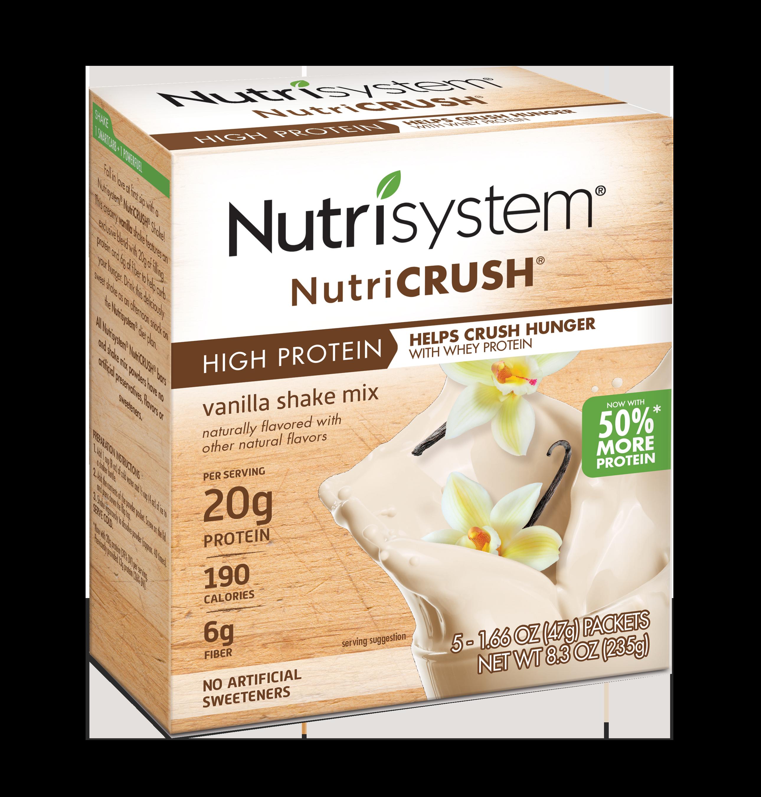 Nutrisystem NutriCrush Vanilla Shake Powder, 1.66 Oz, 20CT