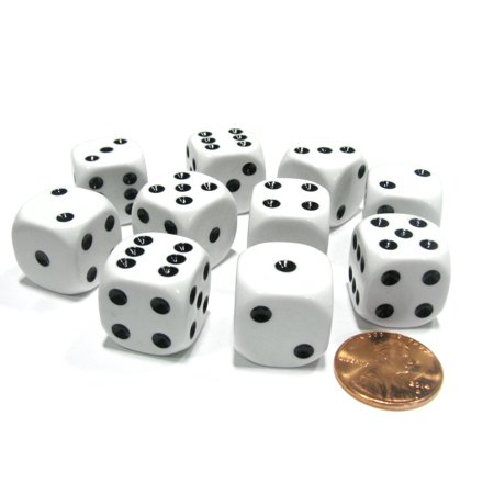 Koplow Games Set of 10 Six Sided Round Corner Opaque 16mm D6 Dice - White with Black Pip
