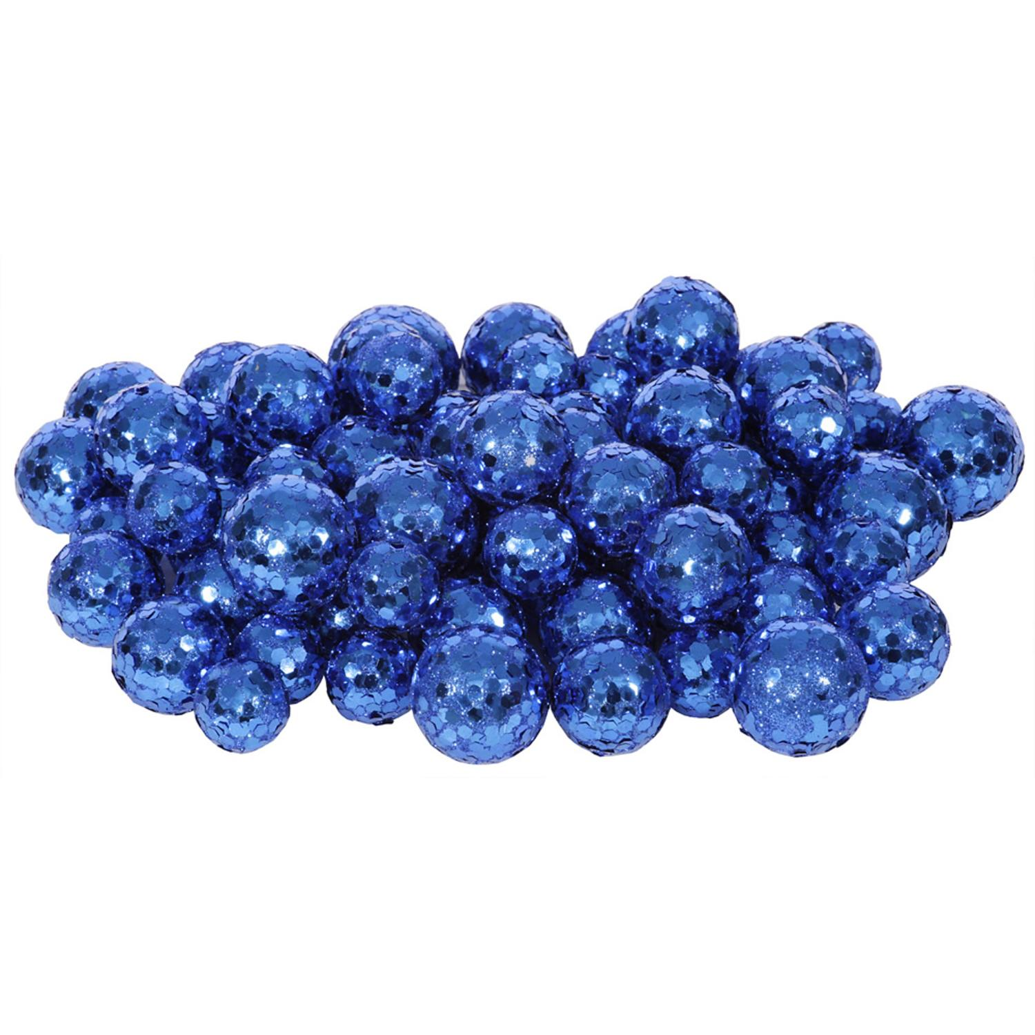 "60ct Blue Sequin and Glitter Christmas Ball Decorations 0.8"" - 1.25"""