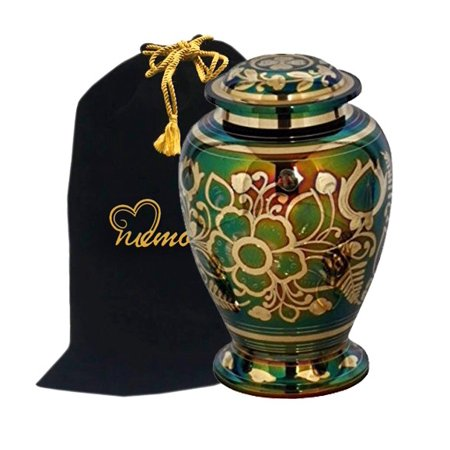 Emerald Green Cremation Urn   Green Urn With Gold Accents   Adult Funeral Urn Handcrafted And Engraved   Affordable Urn For Ashes   Large Urn Deal
