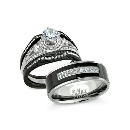 His and Hers Wedding Ring Sets Stainess Steel Vintage Style Halo Deisgn Bridal Sets Wedding Rings with Matching Wedding Band