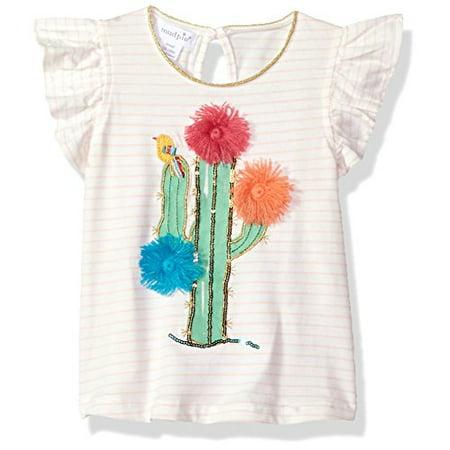 Tee Mud Pie (Mud Pie Baby Girls Cactus Stripe Flutter Sleeve T-Shirt Tunic, Pink, LG/ 4T-5T )