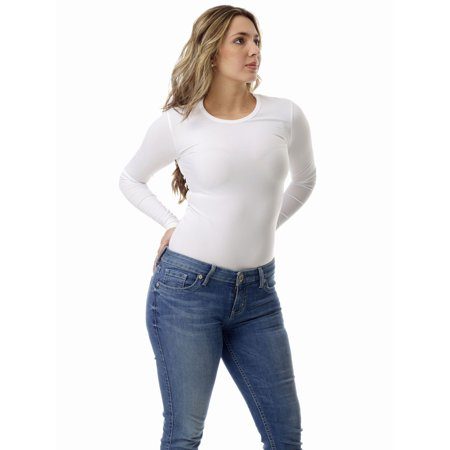 Womens Microfiber Compression Crew Neck Top Long Sleeve ()