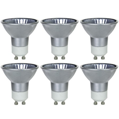 6 Pack Sunlite 50 Watt, 38° Flood, Silver Back MR16 Mini Reflector with Cover Guard, GU10 Base