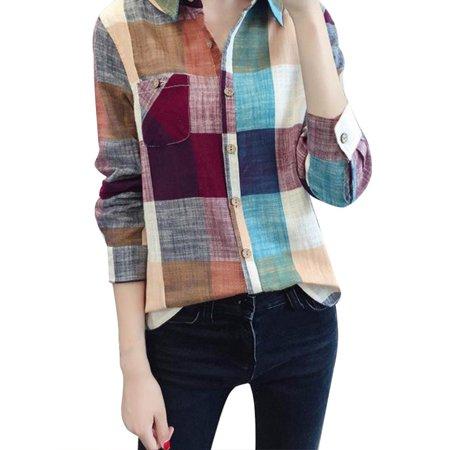 Sweetsmile Autumn Classic Women Plaid Checks Blouse Long Sleeve Turn-down Collar Button Down Casual Shirt Tops