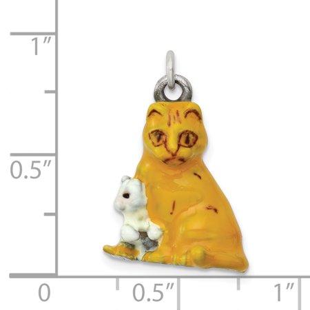 Silver Enamel Mom & Kitten Cat Charm QC6401 (21mm x 16mm) - image 1 de 2