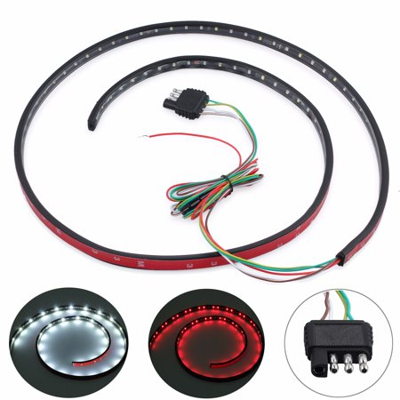 "ESYNIC 60"" LED Tailgate Light Bar Strip Flexible Truck Tailgate Light Tailgate LED Strip Light Truck Turn Signal Reverse Brake Back-Up Tail Light Red and White for Dodge Ram Truck Ford Jeep"