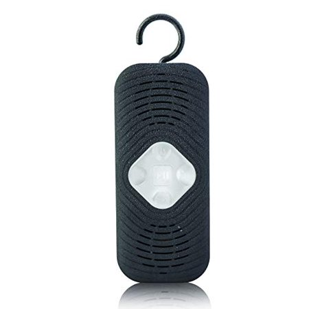 Best Bluetooth Shower Speaker Portable Stereo Bathing Speakers IPX4 Water Resistant Splash Proof w/Mic Handsfree & 3.5mm Aux Jack Built-in Hook Hanger Volume Playback (Black Aqua II Shower