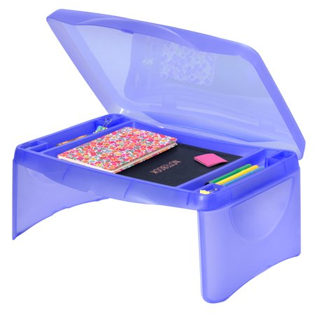 Best Choice Products Folding Lap Desk for Laptops, Food, Work, with Open Face Storage Compartment,