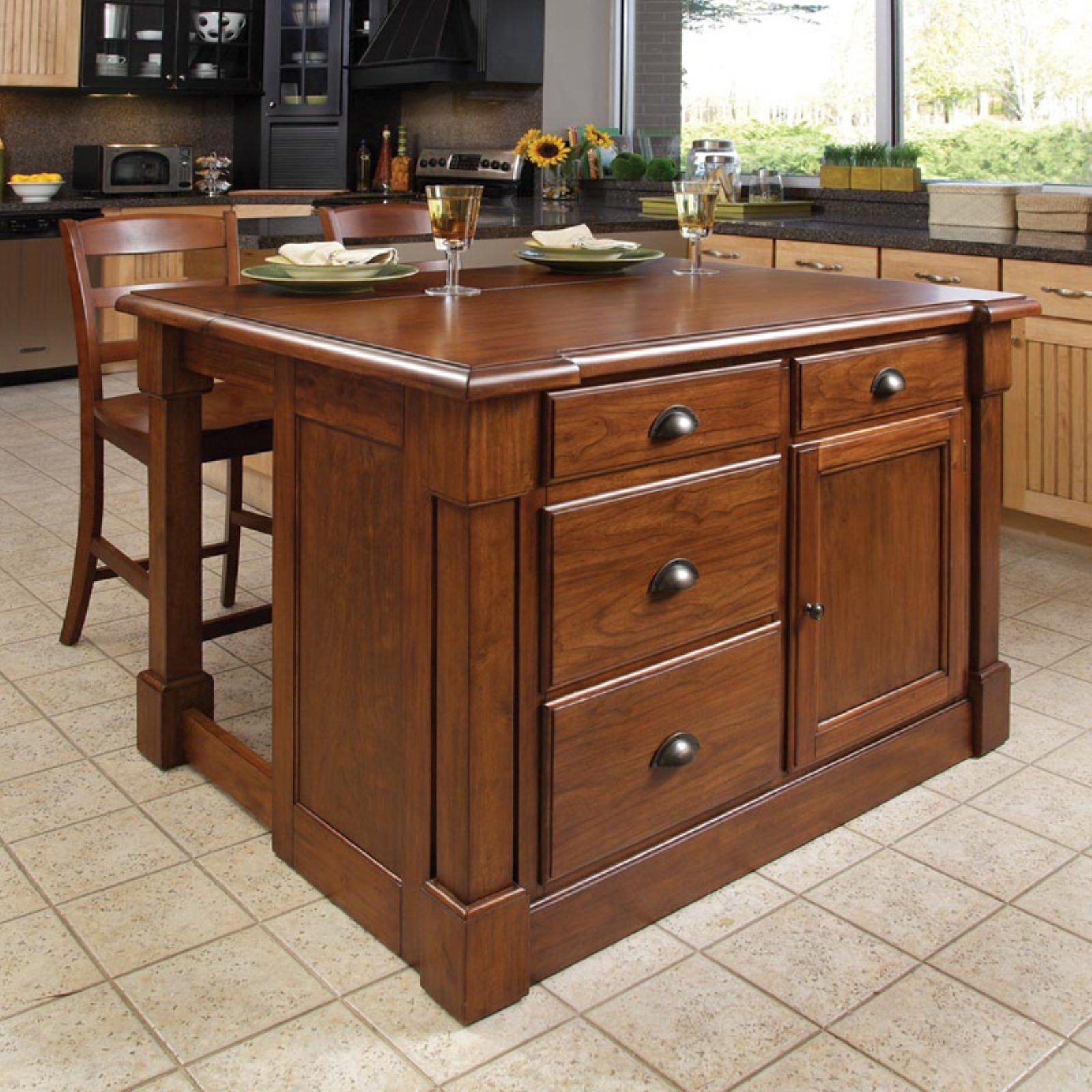 cherry kitchen islands home styles aspen rustic cherry kitchen island and 2 bar 10982
