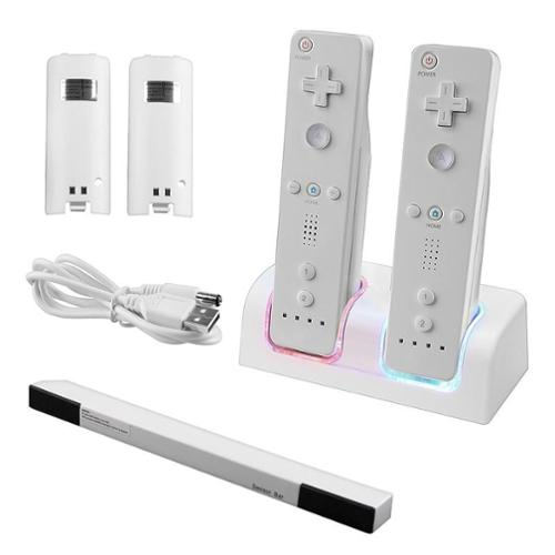 Insten Dual Controller Charger Station+Battery+Wireless Sensor Bar For Nintendo NIN Wii / Wii U