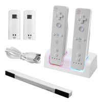 Insten Nintendo Wii / Wii u Dual Controller Charger Station  + Battery + Wireless Sensor Bar